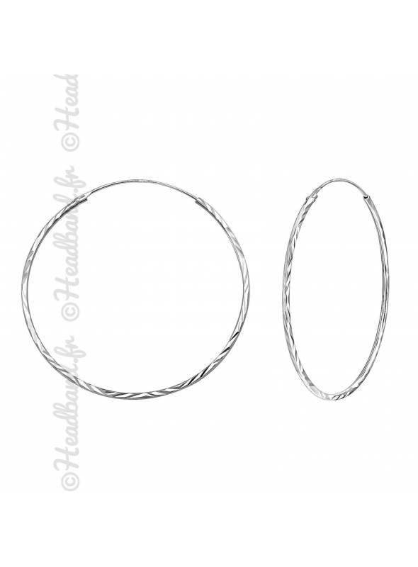 Créoles texturées argent 925 diamètre 40 mm