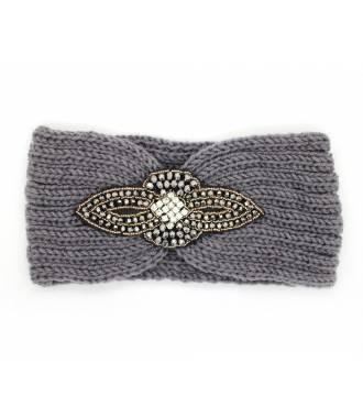 Headband maille perles et strass noir
