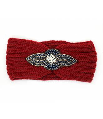 Headband maille perles et strass rouge