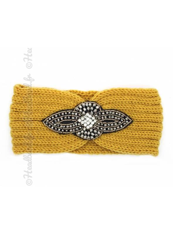 Headband maille perles et strass jaune