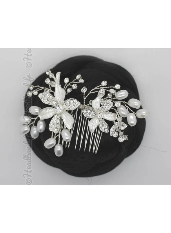 Peigne double fleur et perles