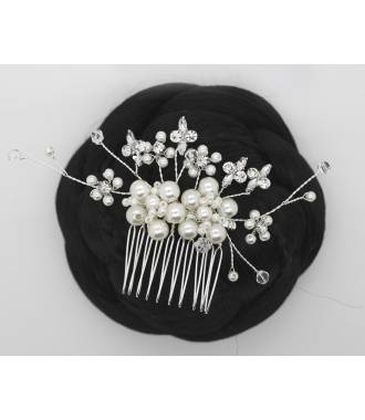 Peigne petites perles blanches