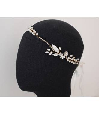Headband vigne doré perles Rosa