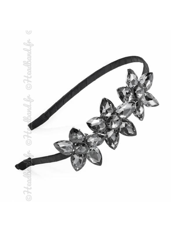 Serre-tête strass fleurs gris