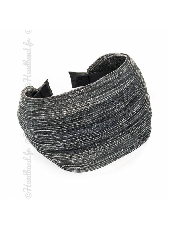 Serre-tête large lurex gris