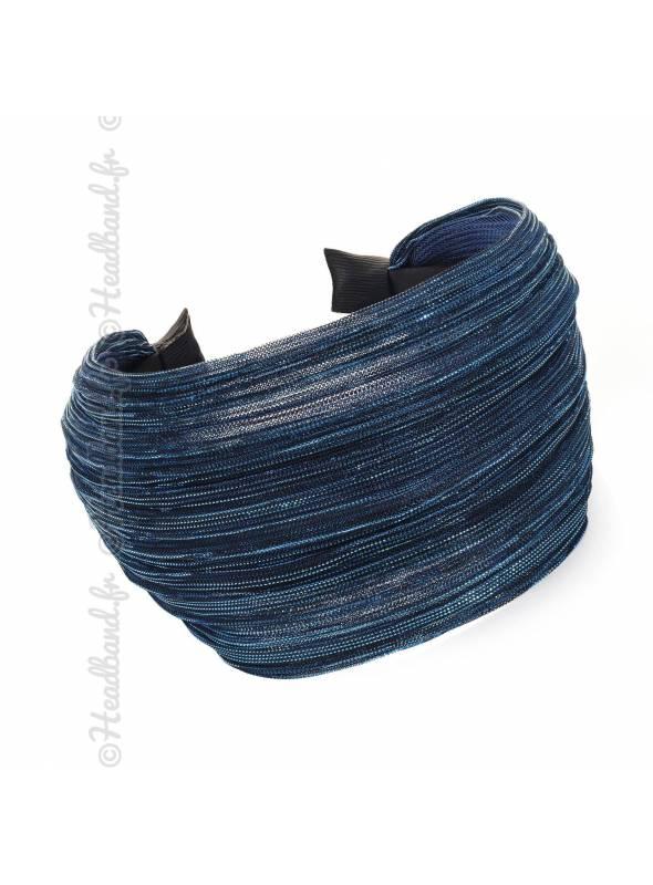 Serre-tête large lurex bleu