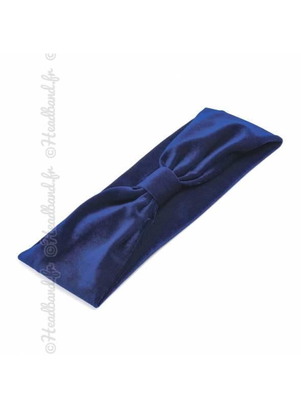 Bandeau pincé velours bleu