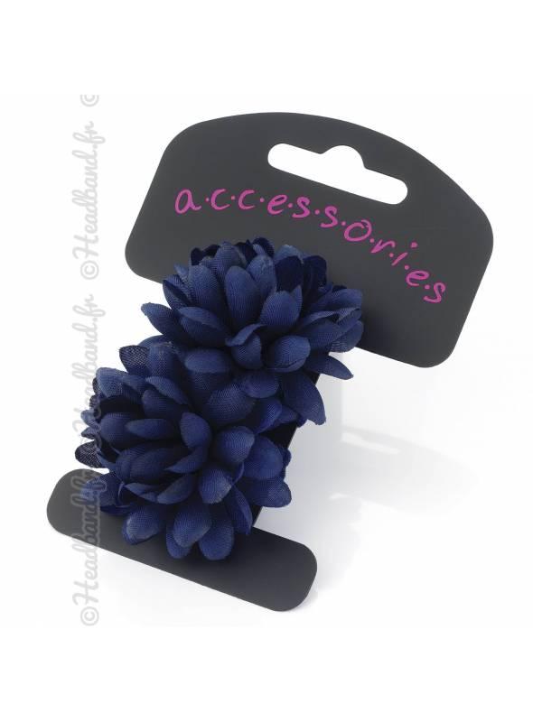 Lot de 2 élastiques fleurs bleu