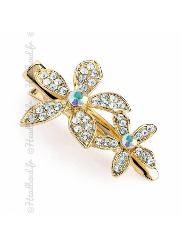 Pince clip doré fleur cristal