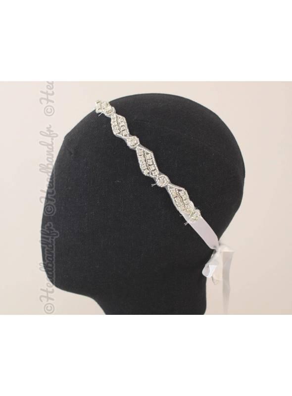Bijou de tête mariage rangée de perles