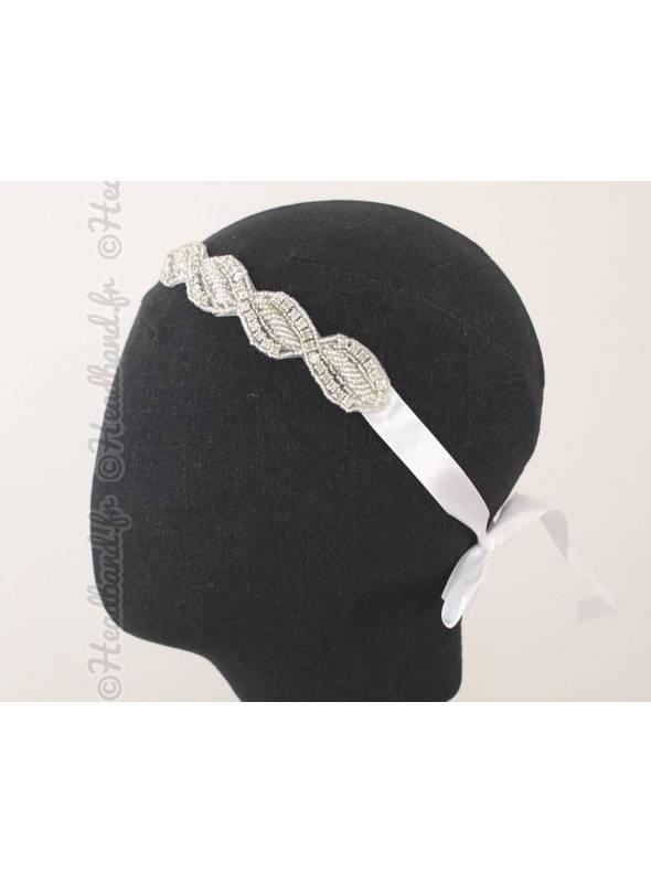 Bijou de tête torsade blanc perles