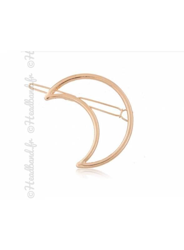 Barrette métal argenté motif lune doré