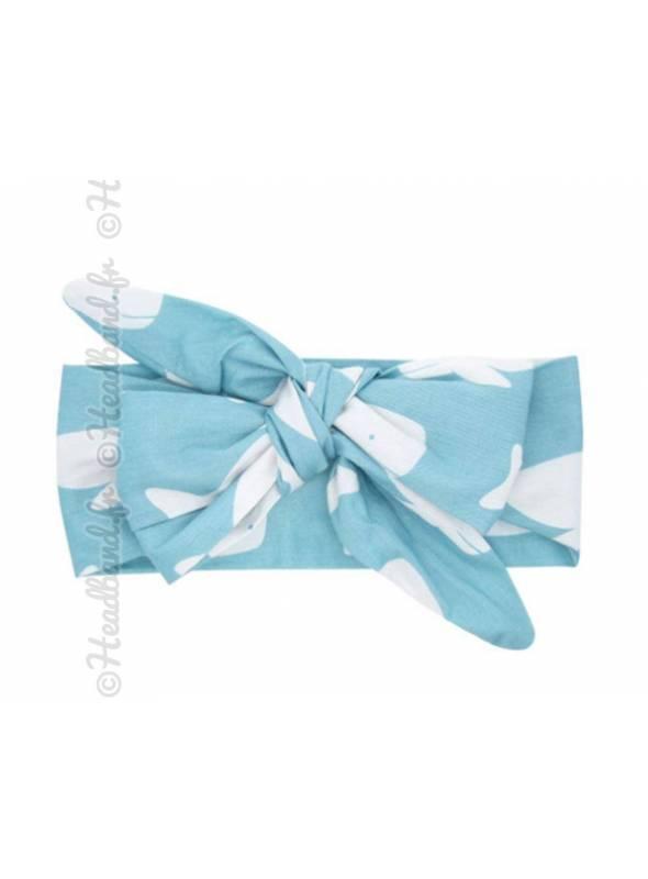 Bandeau noeud fille motif baleine bleue