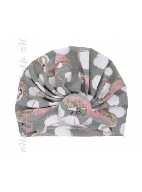 Turban enfant imprimé flamand rose