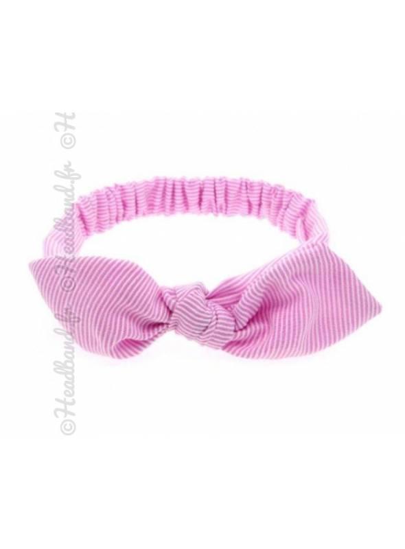 Bandeau enfant noeud rayé rose
