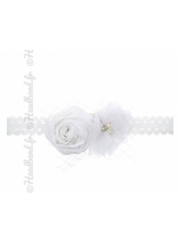 Bandeau bébé fleur rosette blanche
