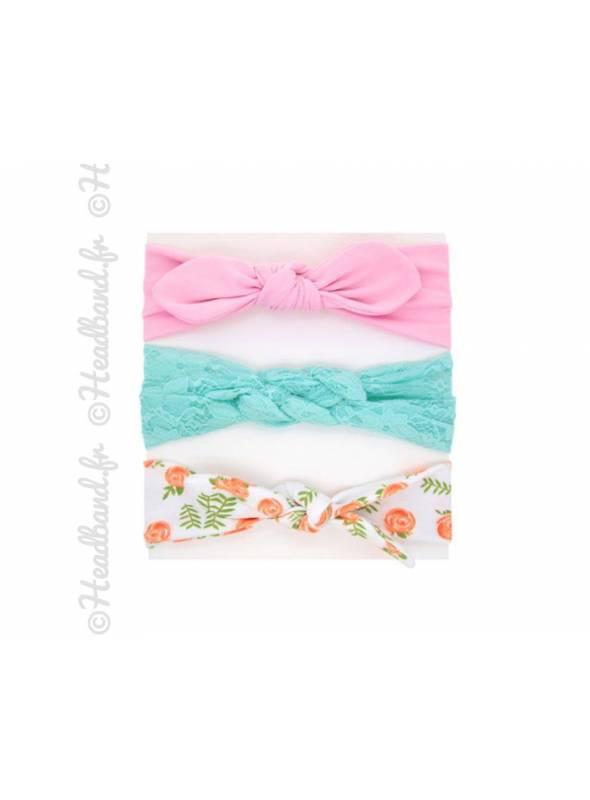 Pack de 3 bandeaux bébé rose