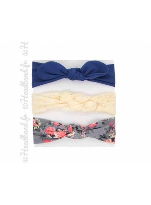 Pack de 3 bandeaux bébé bleu marine