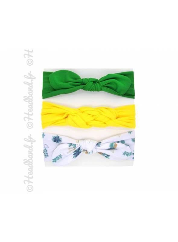 Pack de 3 bandeaux bébé vert