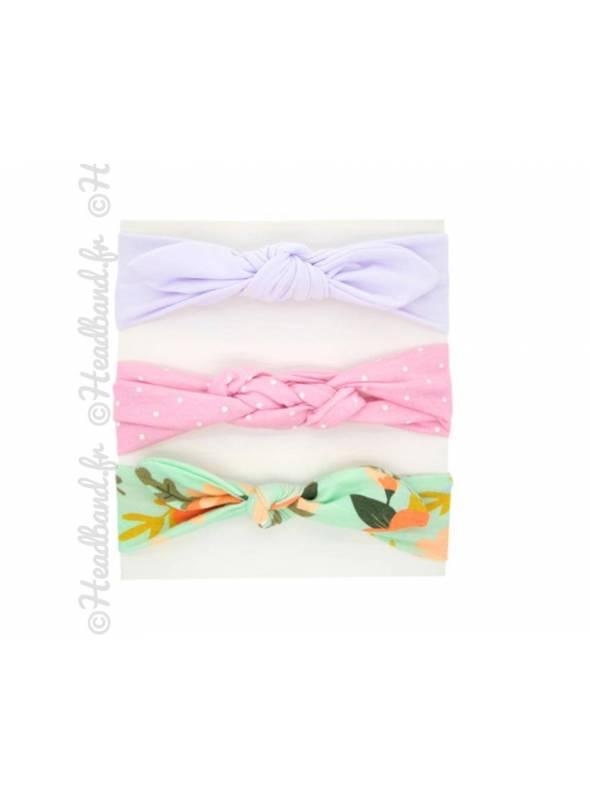 Pack de 3 bandeaux bébé lilas
