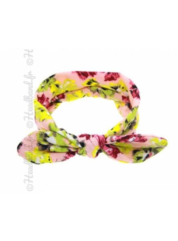 Bandeau fille motif fleur jaune et rose