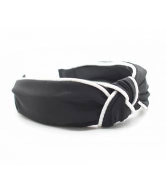 Serre-tête turban noir coutures blanches