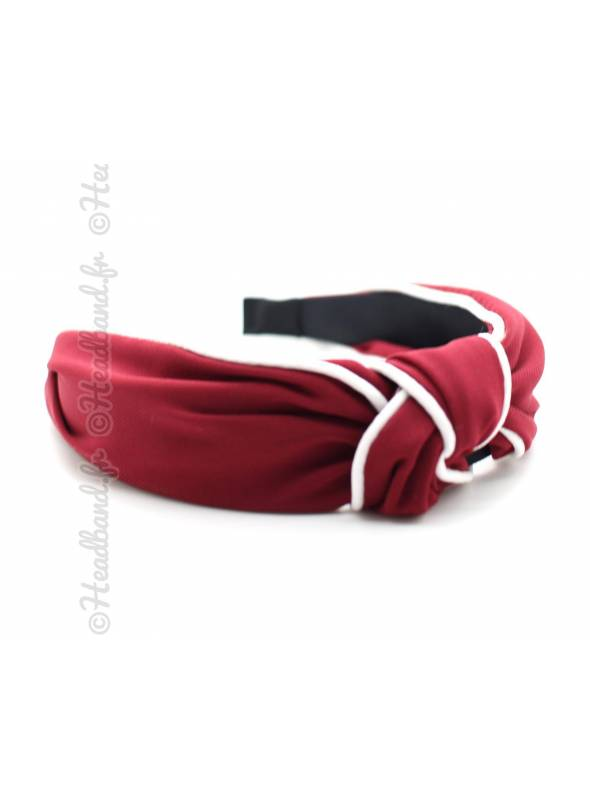 Serre-tête turban rouge coutures blanches
