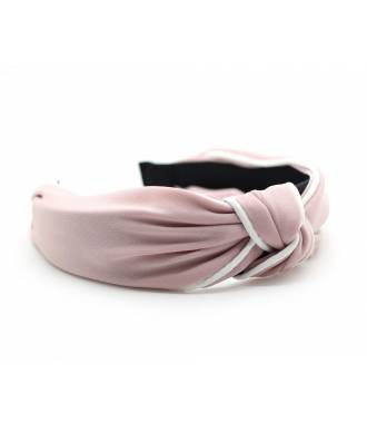 Serre-tête turban rose coutures blanches