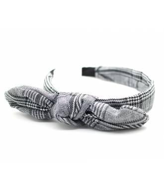 Serre-tête noeud imprimé à carreaux