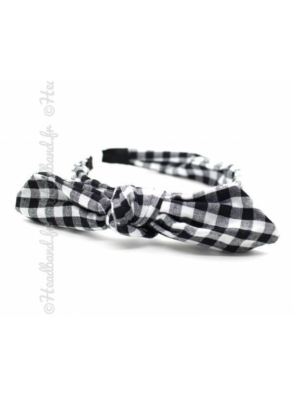 Serre-tête noeud imprimé vichy noir
