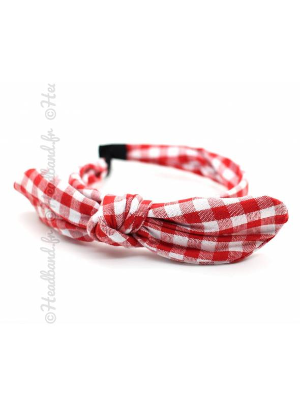 Serre-tête noeud imprimé vichy rouge