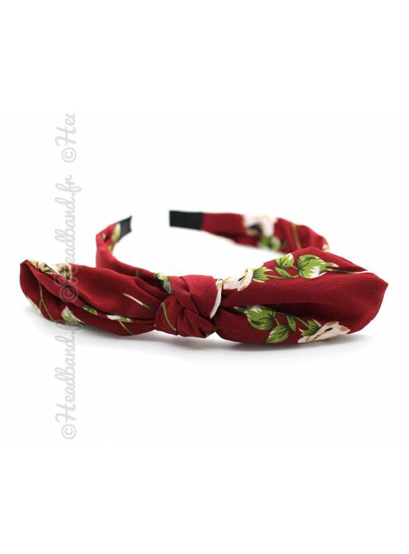 Serre-tête noeud imprimé floral rouge