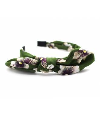 Serre-tête noeud imprimé floral kaki