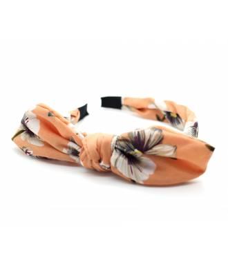 Serre-tête noeud imprimé floral corail