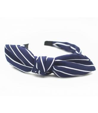 Serre-tête noeud imprimé rayé bleu