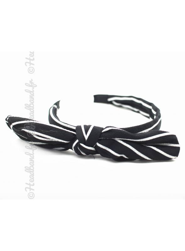 Serre-tête noeud imprimé rayé noir