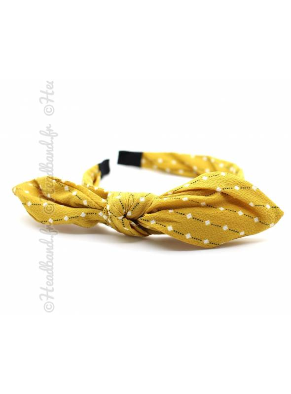 Serre-tête noeud imprimé losange jaune