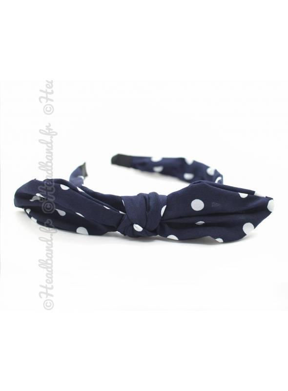 Serre-tête noeud motif polka dot bleu