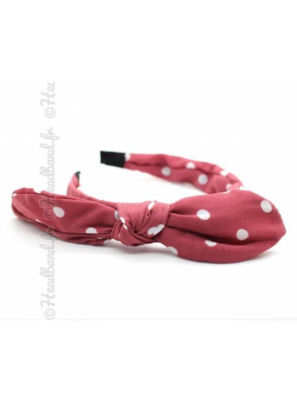 Serre-tête noeud motif polka dot rose