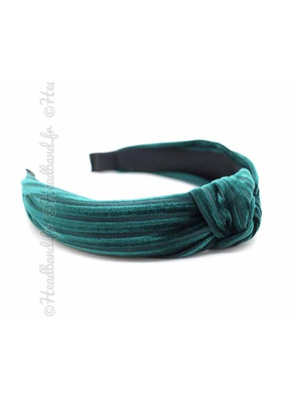 Serre-tête velours côtelé vert