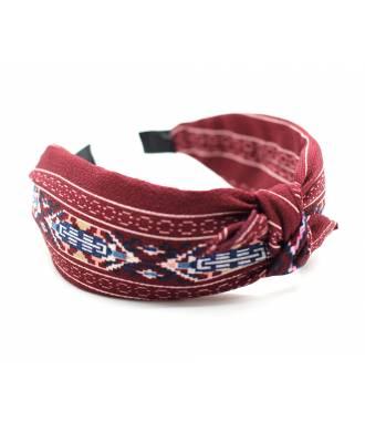 Serre-tête large motif aztèque rouge