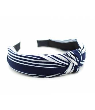 Serre-tête effet turban bleu rayé