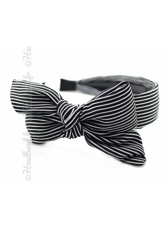 Serre-tête large noeud motif rayé noir
