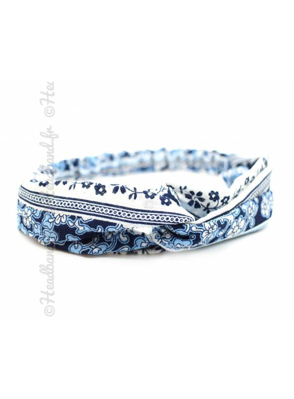 Turban cheveux motif vintage bleu marine