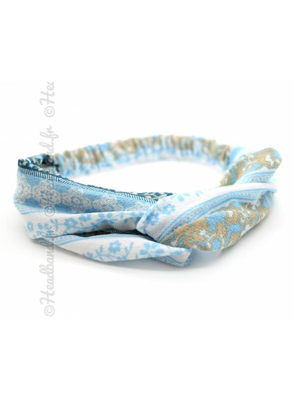 Turban cheveux motif vintage bleu ciel
