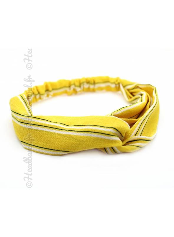Turban mousseline jaune et blanc