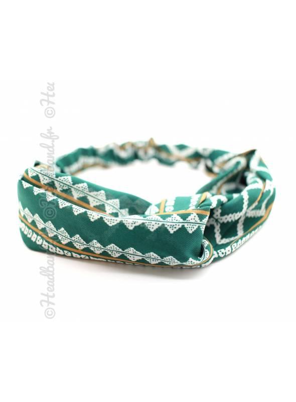 Bandeau mousseline stretch vert et blanc