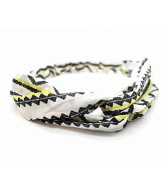 Bandeau mousseline stretch noir et blanc