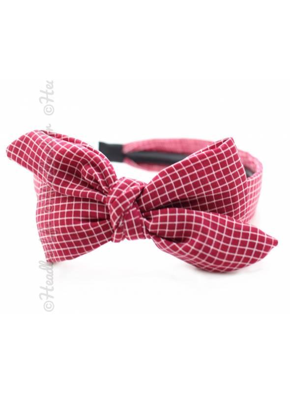 Serre-tête large noeud motif carreaux rouge