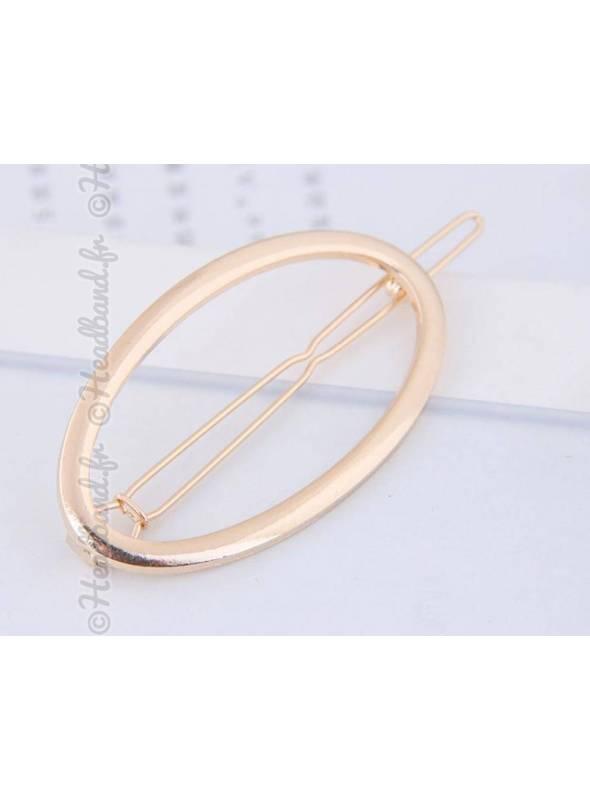 Barrette métal ovale doré